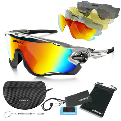 Sports Sunglasses with 5 Interchangeable lenses - Metallic Silver