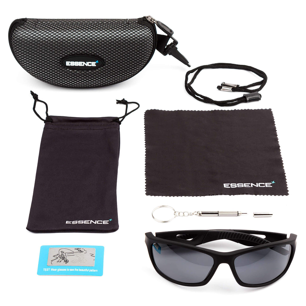 polarized sunglasses with black frame and safety strap