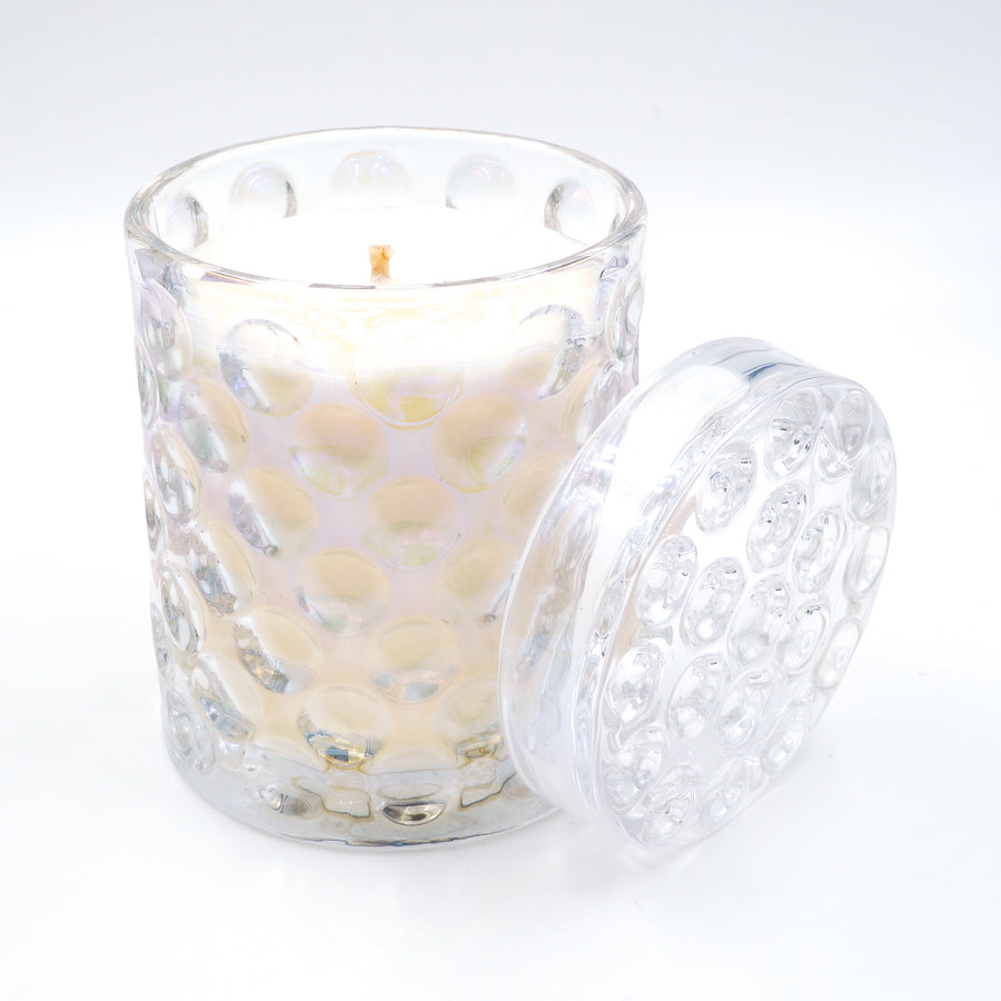 Karma Candle Makers Flirtatious Luxury Soy Candle Iridescent Dimple Glass