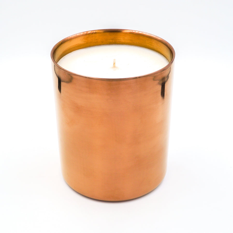 Karma Candle Makers Saddle Up luxury soy candle in brushed copper