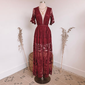 Red Wine Lace Romper