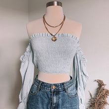 Load image into Gallery viewer, Baby Blue Crop Top