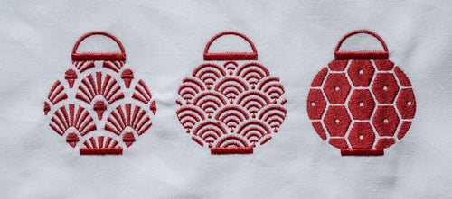 Tea towel with Red Trio Set of Lanterns