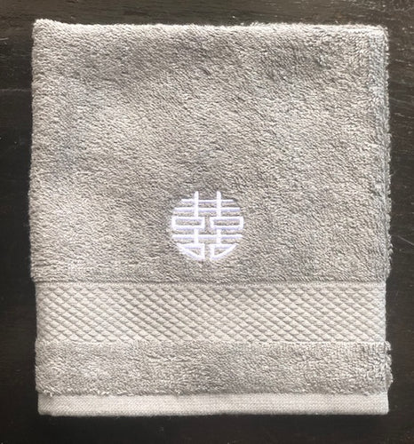 Grey Face Towel with White Double-happiness