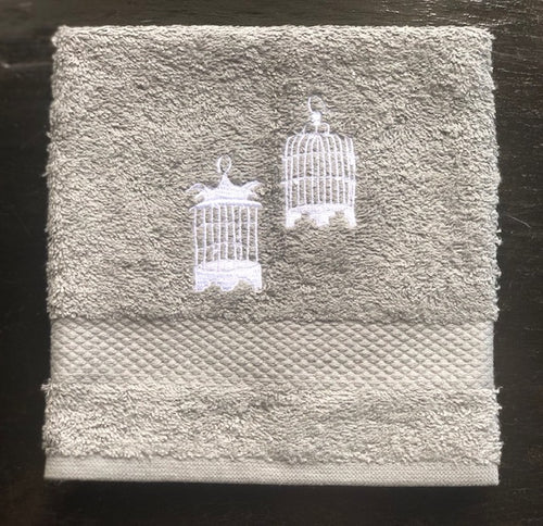 Grey Face Towel with White Birdcages