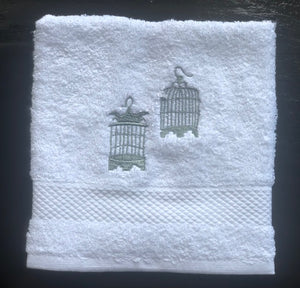 White Face Towel with Grey Birdcages
