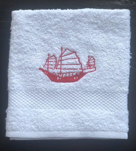 White Face Towel with Red Junk