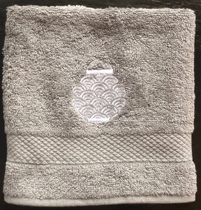 Grey Face Towel with White Lantern