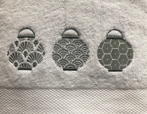 White Hand Towel with Grey Lanterns set