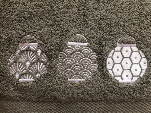 Grey Hand Towel with White lanterns set