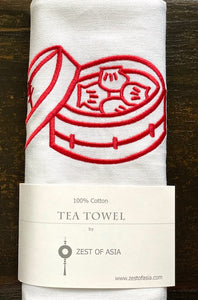 Tea towel with Red Dim Sum Basket