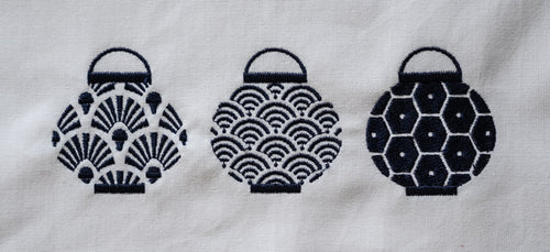 Tea towel with Blue Trio Set of Lanterns