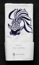 Load image into Gallery viewer, Tea towel with Blue Goldfish