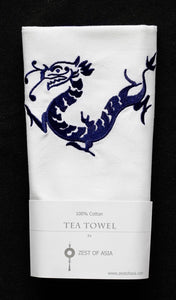 Tea towel with Blue Dragon
