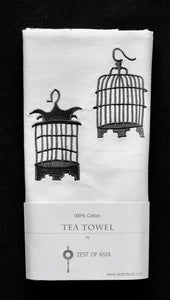 Tea towel with Grey Birdcages