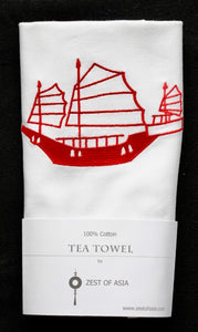 Tea towel with Red Junk