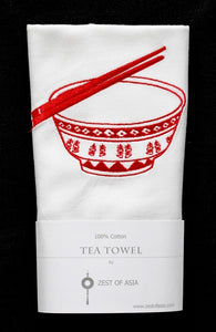 Tea towel with Red Rice Bowl