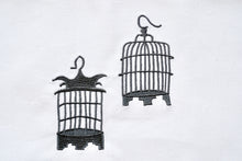 Load image into Gallery viewer, Tea towel with Grey Birdcages