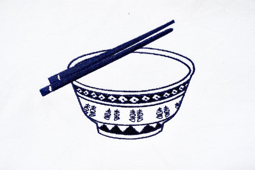 Tea Towel with Blue Rice Bowl