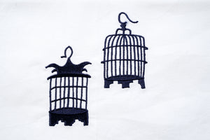 Tea towel with Blue Birdcages
