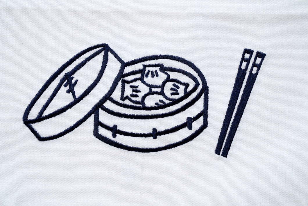 Tea towel with Blue Dim Sum Basket