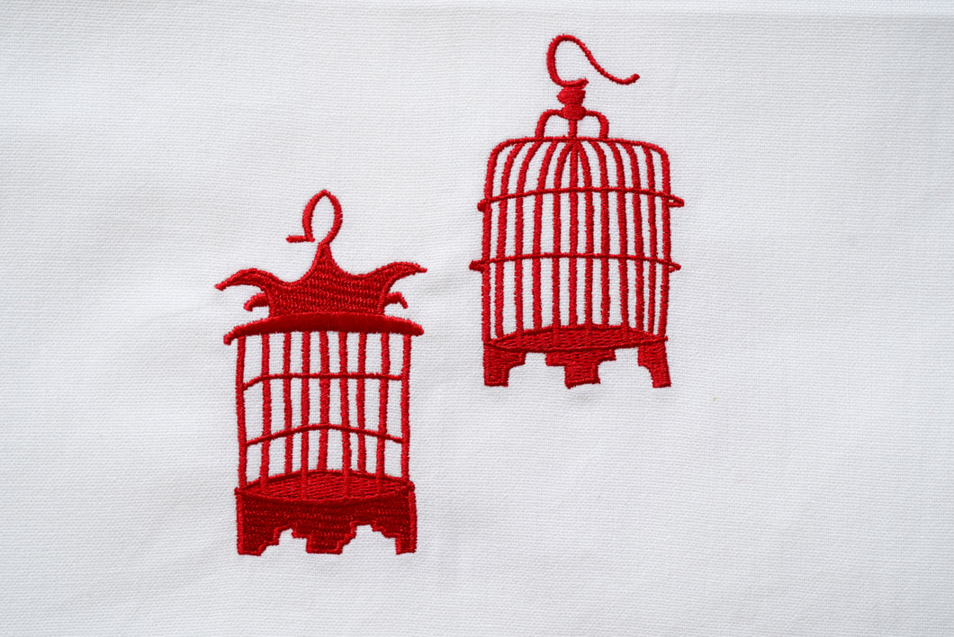 Tea towel with Red Birdcages