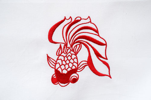 Tea towel with Red Goldfish
