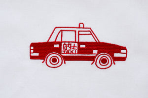 Tea towel with Red Taxi