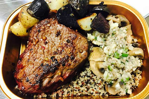 AAA SIRLOIN STEAK WITH GARLIC BUTTER QUINOA WITH MUSHROOM AND SEASONED POTATO MEDLEY
