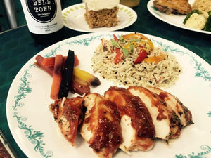 BBQ CHICKEN BREAST WITH JALAPENO RICE AND QUINOA MIX AND SALTED GINGER CARROTS