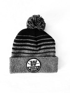 Hockey Striped Pom Beanie