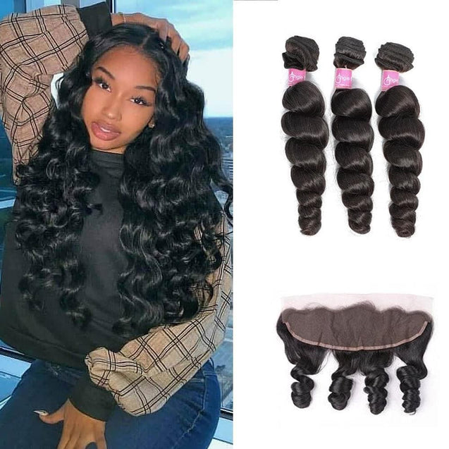 Angie Queen 3 Bundles with Frontal Indian Loose Wave Virgin Human Hair Weave Bundles