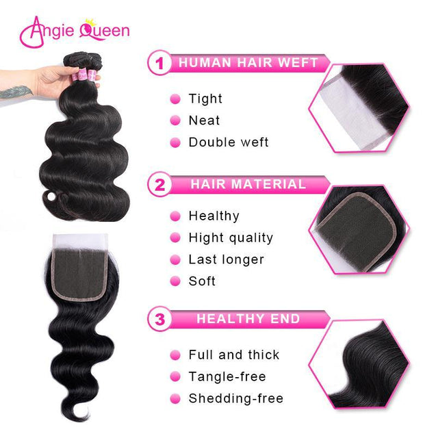 Angie Queen 3 Bundles with Closure Indian Body Wave Virgin Human Hair Weave Bundles