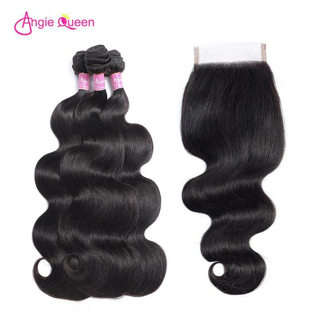 Angie Queen 4 Bundles with Closure Peruvian Body Wave Virgin Human Hair Weave Bundles