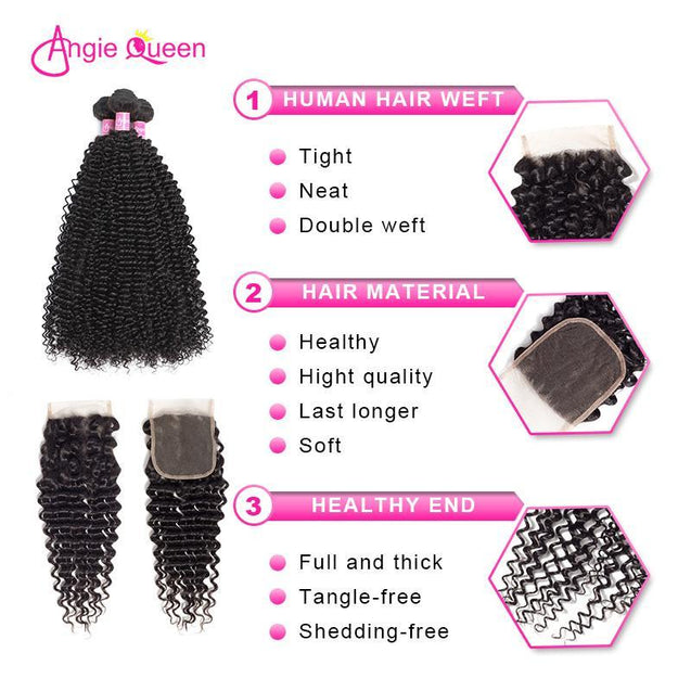 Angie Queen 4 Bundles with Closure Indian Curly Virgin Human Hair Weave Bundles
