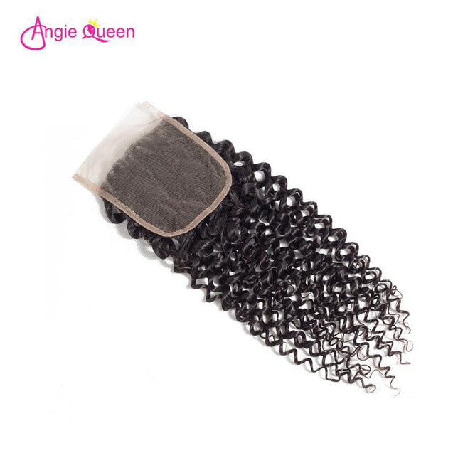 Angie Queen 3 Bundles with Closure Indian Curly Virgin Human Hair Weave Bundles