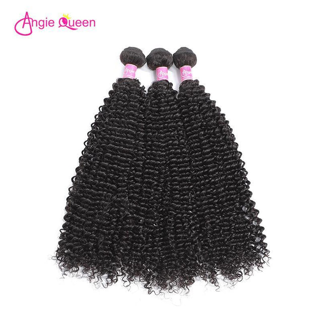 Angie Queen 3 Bundles with Closure Brazilian Curly Virgin Human Hair Weave Bundles