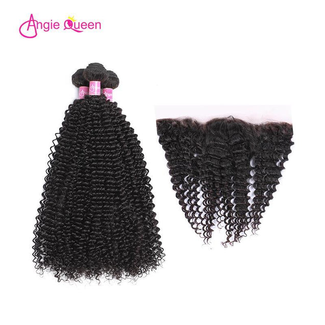 Angie Queen 3 Bundles with Frontal Malaysian Curly Virgin Human Hair Weave Bundles