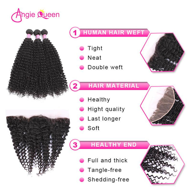 Angie Queen 3 Bundles with Frontal Peruvian Curly Virgin Human Hair Weave Bundles