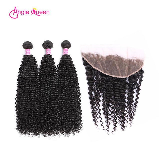 Angie Queen 3 Bundles with Frontal Indian Curly Virgin Human Hair Weave Bundles