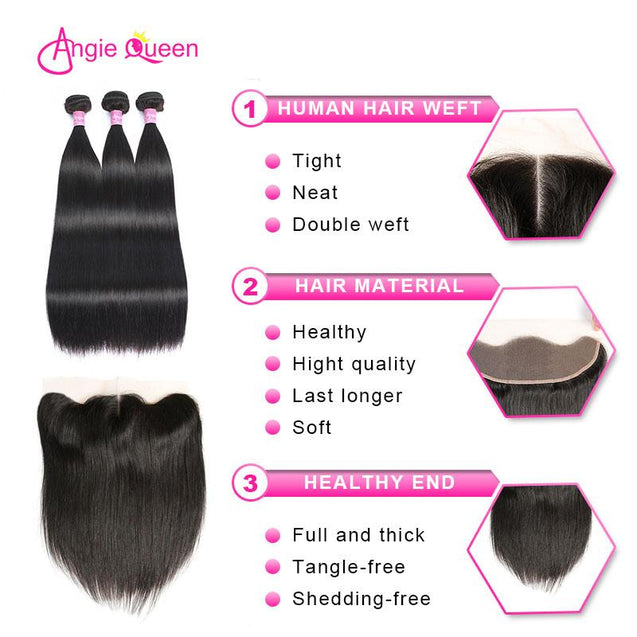 Angie Queen 3 Bundles with Frontal Indian Silky Straight Virgin Human Hair Weave Bundles