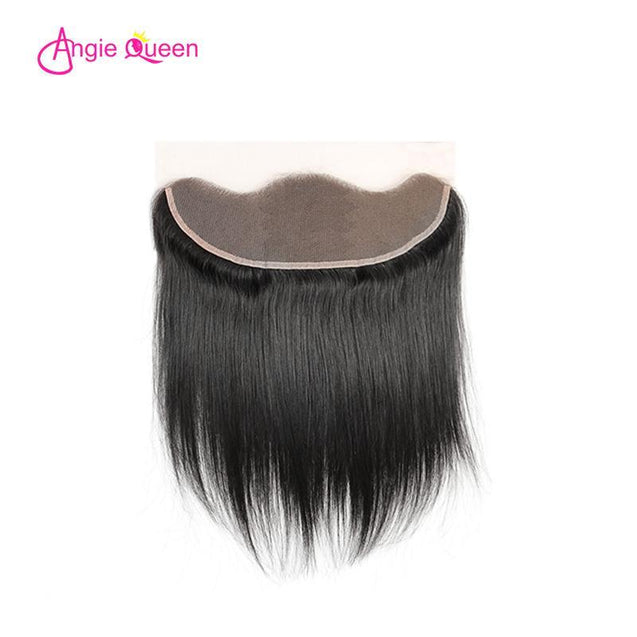 Angie Queen 3 Bundles with Frontal Brazilian Silky Straight Virgin Human Hair Weave Bundles