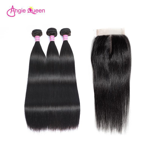 Angie Queen 4 Bundles with Closure Indian Silky Straight Virgin Human Hair Weave Bundles