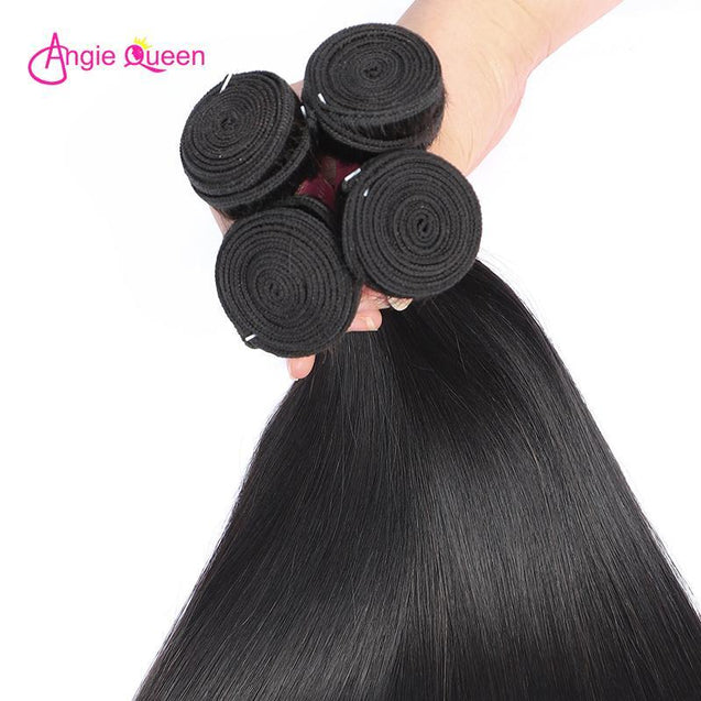 Angie Queen 3 Bundles Indian Silky Straight Virgin Human Hair Weave Bundles
