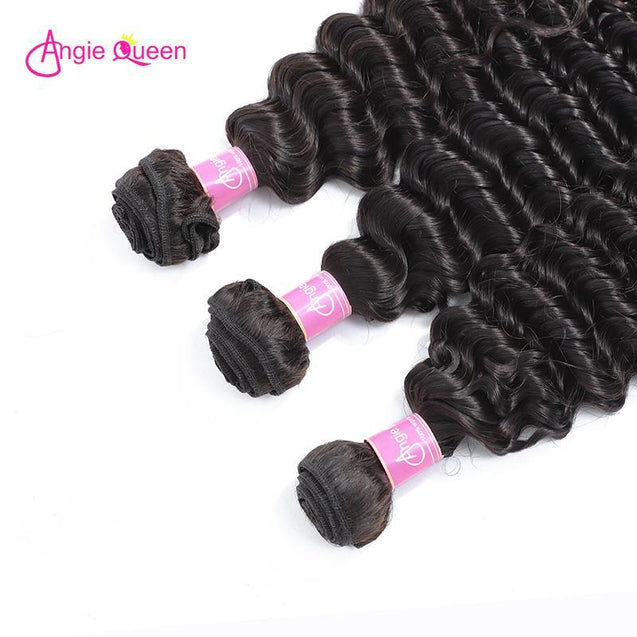 Angie Queen 3 Bundles Peruvian Deep Wave Virgin Human Hair Weave Bundles