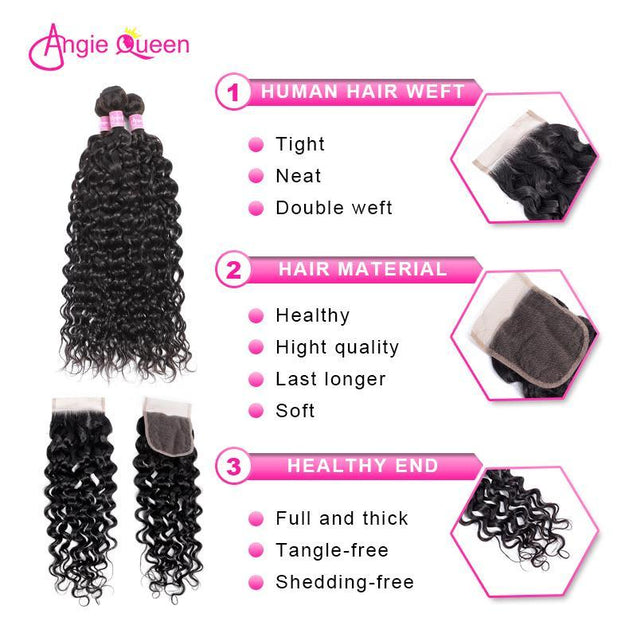 Angie Queen 3 Bundles with Closure Peruvian Water Wave Virgin Human Hair Weave Bundles