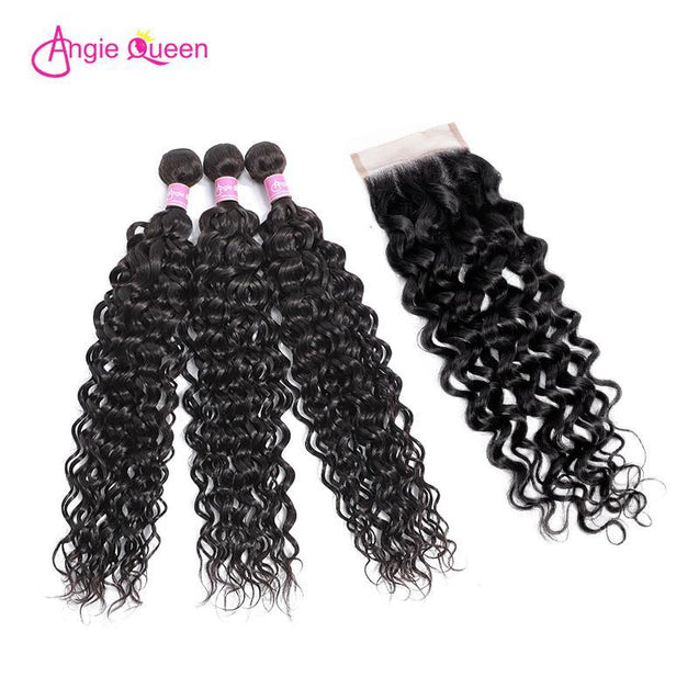 Angie Queen 3 Bundles with Closure Malaysian Water Wave Virgin Human Hair Weave Bundles