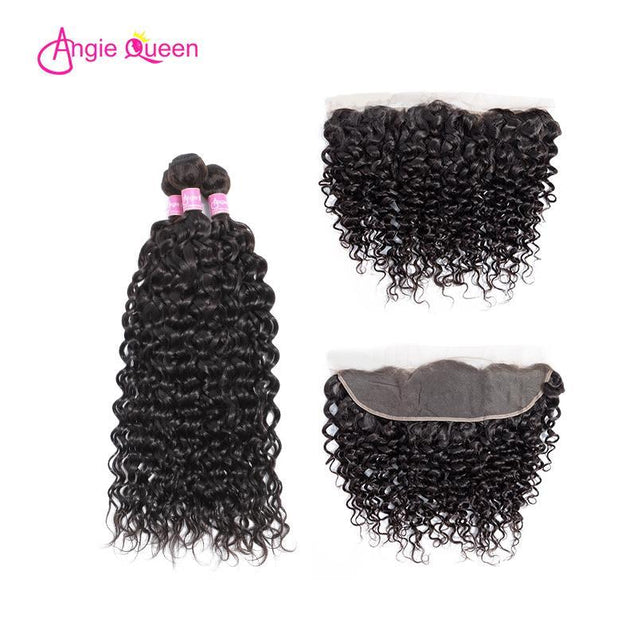 Angie Queen 3 Bundles with Frontal Brazilian Water Wave Virgin Human Hair Weave Bundles