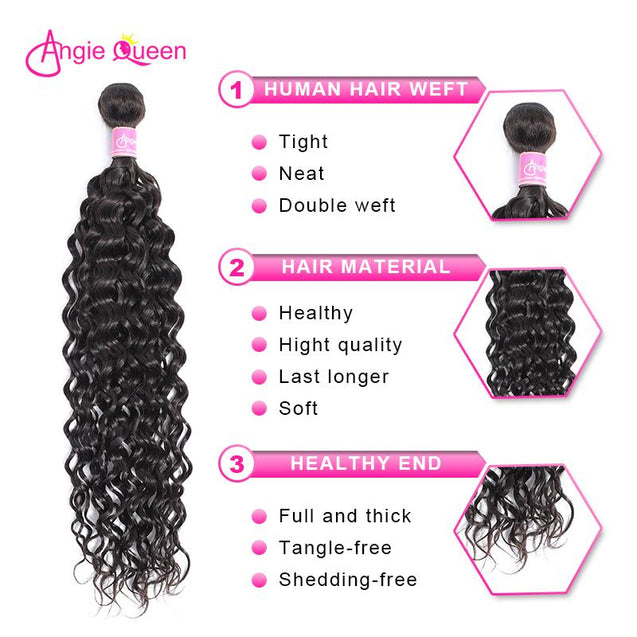 Angie Queen 4 Bundles Malaysian Water Wave Virgin Human Hair Weave Bundles