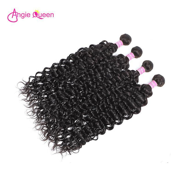 Angie Queen 4 Bundles Peruvian Water Wave Virgin Human Hair Weave Bundles